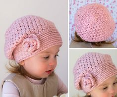 Down Grapevine Lane: Winter warmth ~ part 2 Crochet Baby Hat Patterns, Baby Girl Crochet, Crochet Baby Clothes, Crochet Baby Hats, Crochet Turban, Crochet Slouchy Hat, Crochet Bows, Diy Crafts Crochet, Crochet Projects