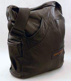 Items similar to ComPassion Repurposed Leather Medium Messenger Box on Etsy Leather Working Patterns, Recycled Leather, Leather Craft, Leather Bag Pattern, Leather Purses, Leather Bags, Leather Jacket, Diy Handbag, Large Shoulder Bags