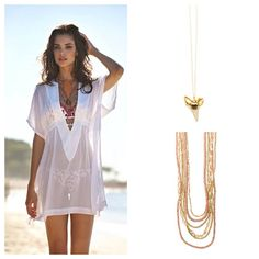 Pile on those necklaces with your beach cover up! We love Heather Gardner Petite Shark Tooth & 6 Layer Bohemian Crystal necklaces