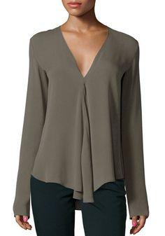 Chic V Neck Long Sleeve Pure Color Asymmetrical Blouse