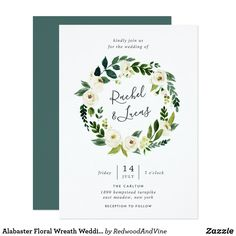 Alabaster Floral Wreath Wedding Invitation Elegant floral wedding invitations feature a wreath of watercolor white roses and peonies with lush green botanical foliage and leaves, encircling your names in chic handwritten lettering. Personalize with your wedding details beneath.