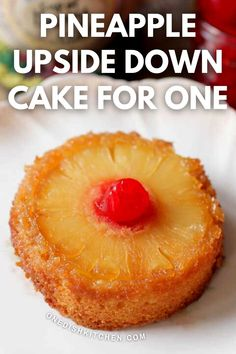 Small Pineapple Upside Down Cake recipe made from scratch. This classic dessert features a tender, buttery mini cake with a perfectly caramelized pineapple slice and a cherry. This single serving treat is baked in a ramekin and is the perfect dessert for one.