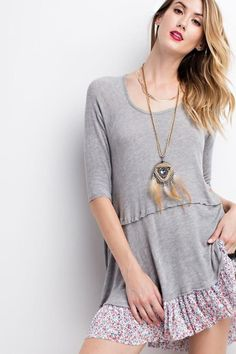 Oversized Tunic w/Pleated Print Contrast Bottom Detail