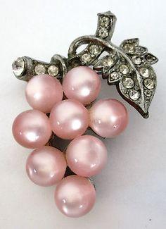Vintage Pink Moonglow Bead Grape Cluster Brooch.