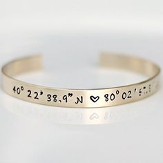 This sweet bracelet by Three Little Pixies comes in brass, or sterling silver and is as unique as it is thoughtful. Featuring the coordinates of your choice and a beautiful brushed finish, it arrives ready to give in custom gift packaging.
