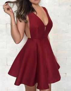 Burgundy Deep V Neck Satin Short Prom Dress Simple Wine Red Cocktail Party Dresses Gala Gowns Teen Homecoming Dresses, Prom Dresses, Formal Dresses, Elegant Dresses, Sexy Dresses, Graduation Dresses, Summer Dresses, Wedding Dresses, Evening Dresses