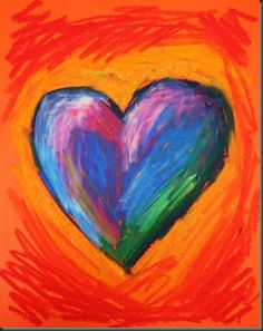 oil pastel hearts - blending warm and cool colors