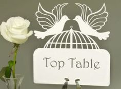 Customised Laser Cut Wedding Table Name Cards - Devotion Doves Collection Each