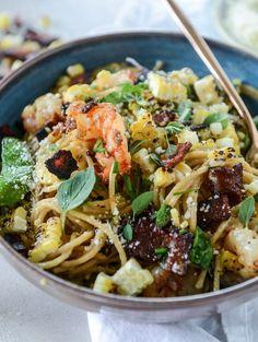 summer shrimp and charred corn pasta carbonara by @howsweeteats I…