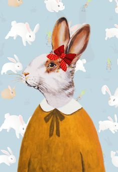Nursery Animal painting portrait painting  Giclee Print Acrylic Painting Illustration Rabbit Print wall art wall decor Wall Hanging: Lady Rabbit