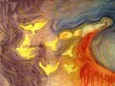 Abstract watercolor/ first communion