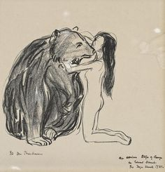 """theegoist: """"Edvard Munch (Norwegian, 1863-1944) - The Woman and the Bear, lithograph on heavy cream paper, 19.80 x 21.50 cm, n.d. """""""