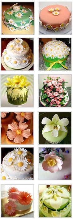 цветы из мастики для украшения торта - фото