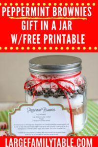Peppermint Brownies Gift in a Jar + FREE PRINTABLES!