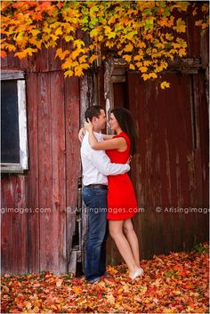 Brightly colored leaves against an old barn! Barn Engagement Photos, Fall Engagement Outfits, Wedding Couple Photos, Couple Shoot, Engagement Couple, Engagement Ideas, Engagement Session, Fall Pictures, Fall Photos
