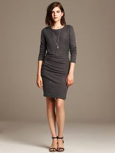 Ruched Gray Jersey Dress Product Image