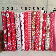 Tela de algodón rojo ningún diseño de repetición de la flor Seriers Patchwork tela Fat Quarters Bundle costura para tela 17 unids 50 cm * 50 cm