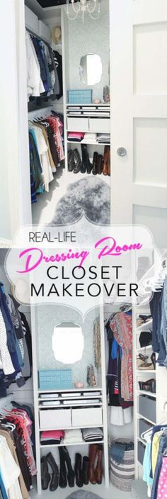 room makeover tips Real life closet makeover. Create a glamorous closet dressing room from any small closet. Dressing Room Closet, Closet Bedroom, Dressing Rooms, Diy Bedroom, Master Bedroom, Bedroom Hacks, Master Closet, Trendy Bedroom, Master Bath