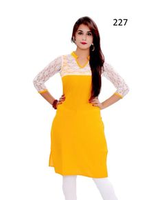 Buy Fency Yellow Color Cotton 3/4 Sleeves Knee Length Semi Stitched Casual Wear Kurti Online - Indian Wear
