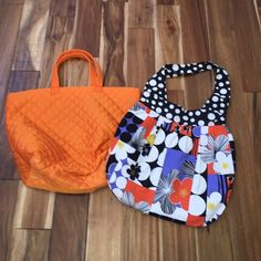 Two cute tote bags Great for groceries, gym, travel. Snap closure on one and zipper on the other. Bags Totes