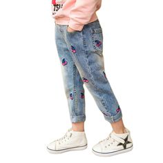 Fashion Cherry Girls Jeans Autumn Winter Girls Thicken Jeans Plus Velvet Warm Kids Pants Girls Trousers Girls New Year Gift Jeans Pant For Girl, Baby Jeans, Girls Jeans, Denim Jeans, Casual Jeans, Jeans Pants, Baby Boys, Kids Girls, Fashion Leaders