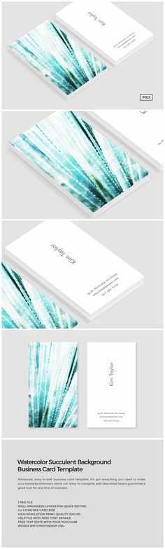 Watercolor Succulent Business Card by The Design Label on @creativemarket