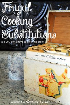 Frugal and Easy Cooking Substitution Solutions. So you don't have to run to the store when you are out of something!