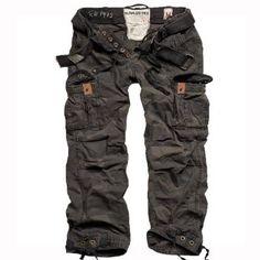 Surplus Premium Vintage Mens Combats Pants Trousers with Belt Work Black Camo £55.00