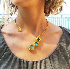 Gold statement necklace, Turquoise stones, Adjustable fashion necklace, Stylish necklace, Wedding necklace, Braidesmaid necklace Gold choker