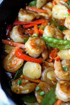 Shrimp with Hot Garlic Sauce Recipe-Butter Your Biscuit fish recipes Sauce Recipes, Seafood Recipes, Cooking Recipes, Spicy Shrimp Recipes, Cooking Games, Shrimp Dishes, Fish Dishes, Food Shrimp, Grilled Shrimp