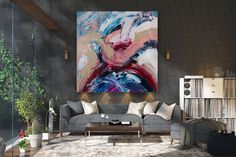 Items similar to Large Painting on Canvas,Extra Large Painting on Canvas,painting wall art,large interior decor,large art on canvas on Etsy Oversized Canvas Art, Large Canvas Art, Large Painting, Texture Painting, Large Wall Art, Large Art, Bathroom Wall Art, Contemporary Artwork, Abstract Wall Art
