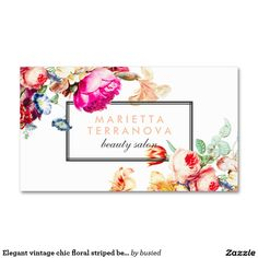 Elegant vintage chic floral striped beauty salon Double-Sided standard business cards (Pack of 100)