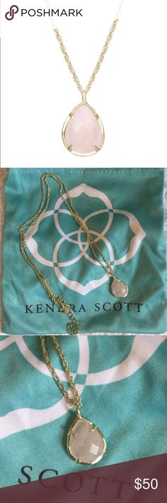 EUC Kendra Scott Gold Kiri Necklace Rose Quartz EUC (worn once) Kendra Scott Kiri Pendant Necklace in Gold & Rose Quartz. No signs of wear or tarnish! Stone is a beautiful pale pink with natural variations. Feel free to ask questions! Kendra Scott Jewelry Necklaces