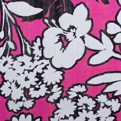 Raspberry/White/Black Floral Textured Sheer Cotton Woven Fabric by the Yard | Mood Fabrics