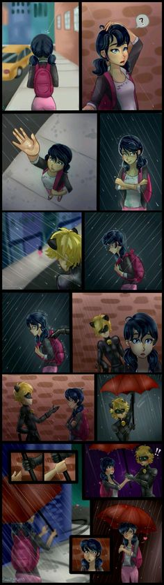 The umbrella scenario just as Marichat. I think she realized who he was at the end of this comic.