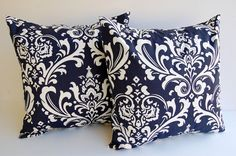 """Navy pillow covers set of two 16"""" x 16"""" navy blue and white throw pillow covers cushion covers couch cushions. $30.00, via Etsy."""