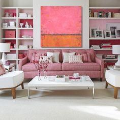 Huge Hot Pink and Orange Abstract Painting (30x30) Original Acrylic Wall Decor - Sage Mountain Studio