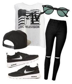 """MTv"" by eemaj ❤ liked on Polyvore featuring Été Swim, NIKE, Brixton and Ray-Ban"