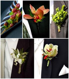 boutineers with orchids