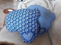 Blue shweshwe Africa pillows