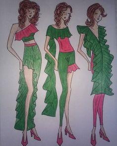 """#drawing #design #style #designer #fashiondesigner #student #studentasfashiondesigner #hungarian #green #pink #woman #moda #modafeminina #illustration…"""