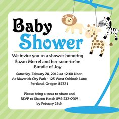Customizable baby shower invitation template - Jungle Animal Mobile Baby Shower Templates, Baby Shower Invitation Templates, Invitation Cards, Invites, Baby Jars, Jungle Animals, Baby Showers, Rsvp, Treats