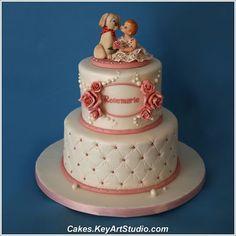 Very pretty birthday girl cake with a dog