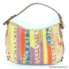 Fossil 1954 Hobo Handbag Canvas Patchwork Faux Leather Trim #Fossil #Hobo