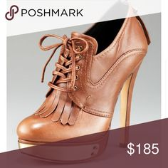 """House of Harlow 1960 Nelly brown metal detail boot House of Harlow 1960 Nelly brown metal detail booties-like new-tiny scratches on metal detail and slight wear on bottoms of soles. Zips in back-4"""" heels. Platform is 1.25"""" -these are lace ups. House of Harlow 1960 Shoes Ankle Boots & Booties"""