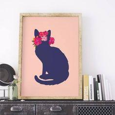 poster flower cat