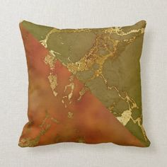 Autumn Marble Olive Green Orange Gold Color Block Throw Pillow Gold Bedroom Decor, Bedroom Ideas, West Indies Decor, Olive Green Kitchen, Sweet Gum, Bedroom Orange, Grey And Gold, Rust Color, Fall Home Decor