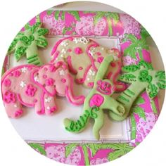 Lilly Pulitzer cookie cutters. The set comes with a monkey, palm tree, and elephant. They are fantastic and make the cutest cookies!