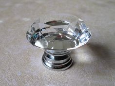 Large Faceted Glass Knob Clear Shiny Diamond Cut / Modern Crystal Furniture  Drawer Pull / Contemporary