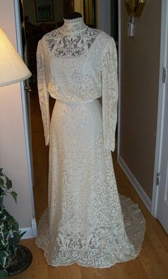 Custom Victorian Wedding Dress, Vintage Gibson Girl Style with Soft Ivory Antique Lace and Silk. $687.00, via Etsy.